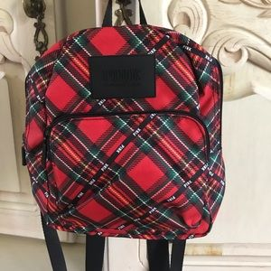 New Pink Tartan plaid small backpack